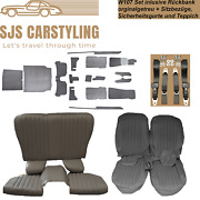 Seat Covers + Back Seat Foldable +carpet + Belts Grey For Mercedes Sl R/w107