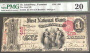 1875-1-the Fnb Of St. Johnsbury-vt-pmg20. A Scare Note From Vt. 1st Time On Eb.