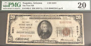 1929-20t1-the Fnb Of Nogales Az-pmg20. A Scarce Note From Az.