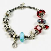 Authentic Sterling Silver Pandora Charm Bracelet With 11 Charms Glass Baby Heart
