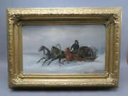 Troika Winter Landscape Oil Painting Horse-drawn In Goldstuckrahmen Sign