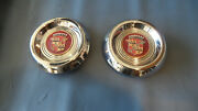 1953 1954 50and039s Cadillac Wire Wheel Hubcaps Spoke Centers W Medallions 2-xlnt