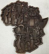 Early Vintage African Relief Carved Wood Panel Wall Art Storyboard Black Walnut