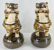 Antique Chinese Pair Cizhou Pottery Song Dynasty Foo Dog Lions Joss Stick Holder