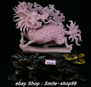14.9 China Natural Xiu Pink Jade Carving Subshrubby Peony Flower Birds Statue