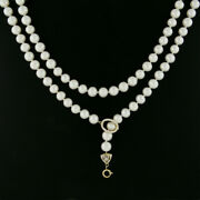 Long 36 Gia 8.4-9.6mm White Cultured Freshwater Pearl Strand Enhancer Necklace