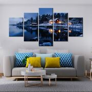 5 Panel Framed Snow Village Lake House Canvas Picture Wall Art Hd Print Decor