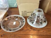 New Yankee Candle Pinecone Crackle Glass Jar Shade And Plate Tray With Blemish