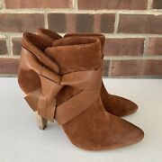 Jessica Simpson Brown Suede Heeled Ankle Boots Women's Size Us 7 M