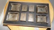 Vintage Etched Silver Plate Individual Ashtray + Matchbox Cover Set Of 4 Origina