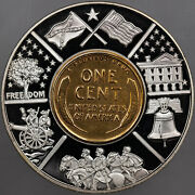 2001 American Currencies W/ Inlaid Gold-plated Lincoln Wheat Penny Proof W/coa