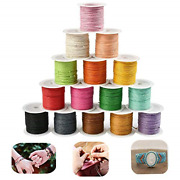 Tokerd 15 Colour Waxed Cord 1mm Craft Waxed Thread 150m Wax Cotton String Sewing