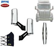 Chrome Replacement Door Mirrors W/ Arms Right Left Pair For Peterbilt 579 + Set
