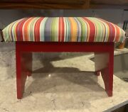 Vintage Seat Stool Red Wood Stripped Seat Footstool Bench 18 L X 11 W X 14 H