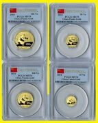 2014 China Pure Gold Panda 4 Coins Set Pcgs Ms 70 First Strike