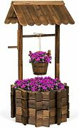 Outdoor Wishing Well Planter W/hanging Basket Fir Wood To Withstand The Seasons