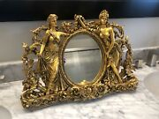 Antique French Belle Epoque Style Gilt Burwood Free Standing Or Wall Mirror