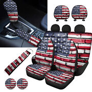 11pc Flag Car Seat Covers Front Rear Combo With Wristlet Keychain Headrest Cover