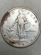 1908-s Philippines Silver Peso Au Details Sea Salvage Effect