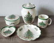 ●wow● 5 Spode China Christmas Tree Green Trim Candy Dishes Cookie Jar Coffee Cup