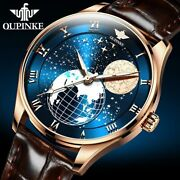 Oupinke Mens Automatic Watch Moon Phase Mechanical Sapphire Crystal Leather Band