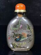 Chinese Crystal Hand-made Inner Painting Mandarin Duck Snuff Bottle 4372