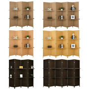 4/6 Panel Room Wall Divider Diamond Foldable Privacy Screen With Shelves 4 Color