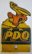 Rare Pdq Petrol Corp. Gas Oil Adv. License Plate Topper, Calf. 1940s Embossed