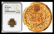 1866 1c Unc Details Ngc-cleaned Indian Cent