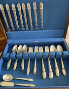 1847 Rogers Bros Is First Love Silverware Flatware Silver Plate 49 Pieces Chest