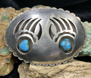 """Big Old Pawn, Isleta """"ted Charveze"""" Sterling Silver And Turquoise Belt Buckle"""