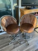 2 Vintage Cosco Chrome Bar Counter Stools With Brown Faux Vinyl Leather