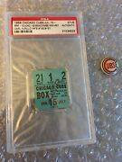 1956 Chicago Cubs Vs Brooklyn Ticket Stub- Psa. Carl Furillo Hr With 1950's Pin