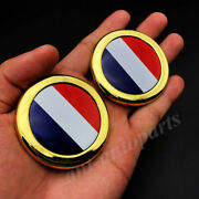 2x Gold France French Flag Car Emblem Badge Motorcycle Gas Tank Decals Sticker