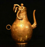 13.2 Old Copper 24k Gold Gilt Dynasty Portable People Story Wine Pot Flagon