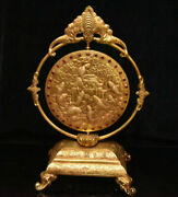 15.6 Old Chinese Copper 24k Gold Gilt Inlay Gem Dynasty Year Fish Screen Statue