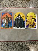 3 Halloween Vintage Star Wars Cards Vader Cp30 Chewbacca 1977 Drawing Board
