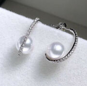 18ct Solid White Gold Natural Diamonds And Fresh Water Pearl Earrings Vs
