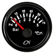 Marine Instrument Oil Pressure Display Up To 5 Bar Black-black