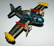 Vintage Airplane Tin Toy Japan Friction Spinning Propellers Lithograph 1950s
