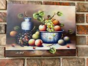Oil Painting Fruit Still Life With Blue Transfer Ware-12x 16 New