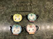 4 Vintage Japan Tea Bag Holders I Will Hold The Bag With Rare Caddy Great Shape