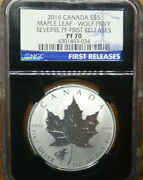 2016 Canada S5 Maple Leaf Wolf Privy Reverse Proof First Release Ngc Pf70
