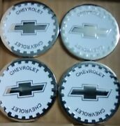 Chevrolet Wire Wheel Emblems 4 White And Chrome Size 2.25 Zenith Style