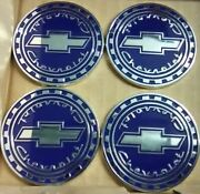 Chevrolet Reverse Gear Wire Wheel Emblems 4 Blue And Chrome Size 2.25 Zenith Look