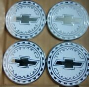 Chevrolet Reverse Gear Wire Wheel Emblems 4 White And Chrome Size 2.25 Zenith Look