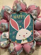 Whimsical Spring 🐰 Wreath Pink Deco Mesh Egg 24 X 24 Easter Bunny Gingham