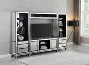 Contemporary Silver Mirror And Black Tv Console Entertainment Center Media Towers