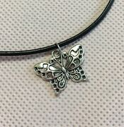 Lot 2 Silver Butterfly And Feather Choker Necklaces Black Cord 15andrdquo+2andrdquo Extra Chain