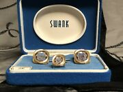 Vintage Swank Gold Tone Cuff Links And Tie Tack Tac Alexandrite June Nos